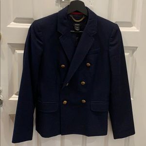 JCrew wool double breasted navy blazer sz 2